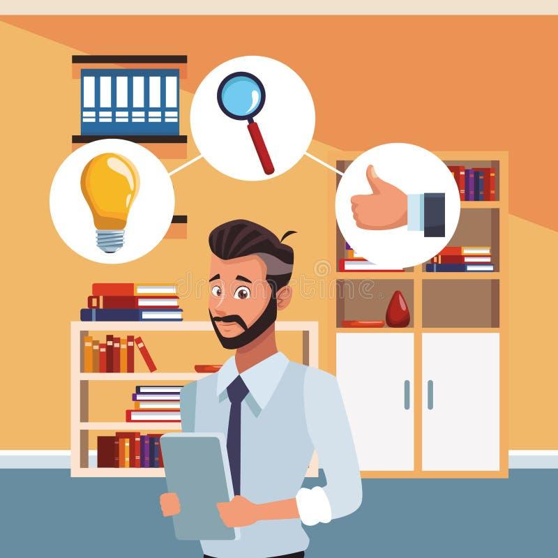 Hombre de negocios en la oficina ilustración del vector