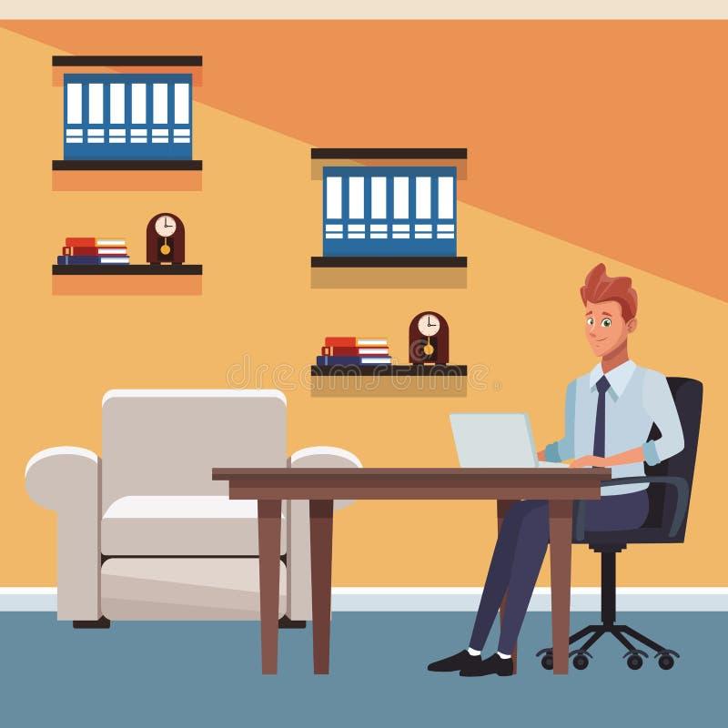 Hombre de negocios en la oficina libre illustration