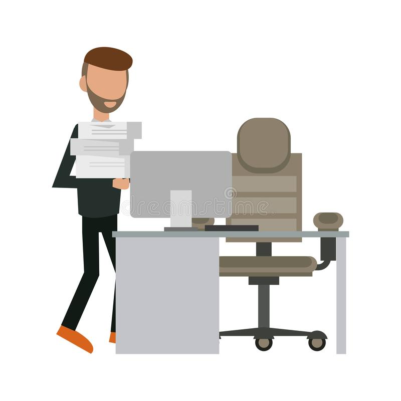 Hombre de negocios en la oficina stock de ilustración