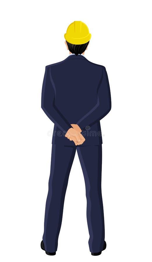 Hombre de negocios en la opinión de la parte posterior del casco del trabajo stock de ilustración