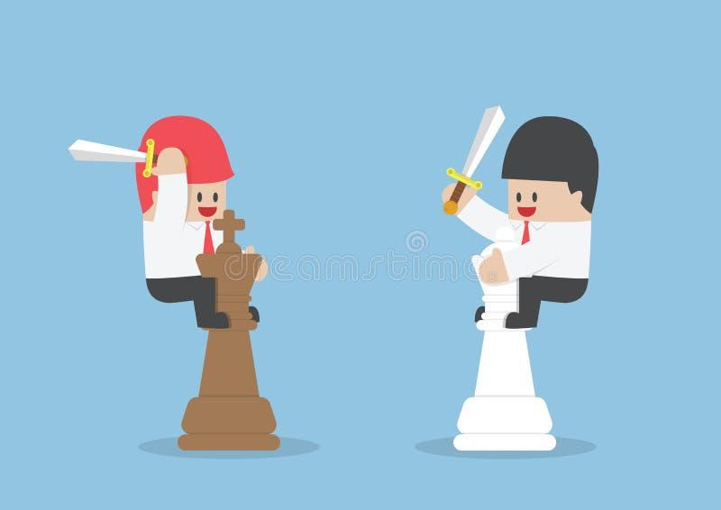 Hombre de negocios en la parte de atrás del ajedrez del rey y de la reina stock de ilustración