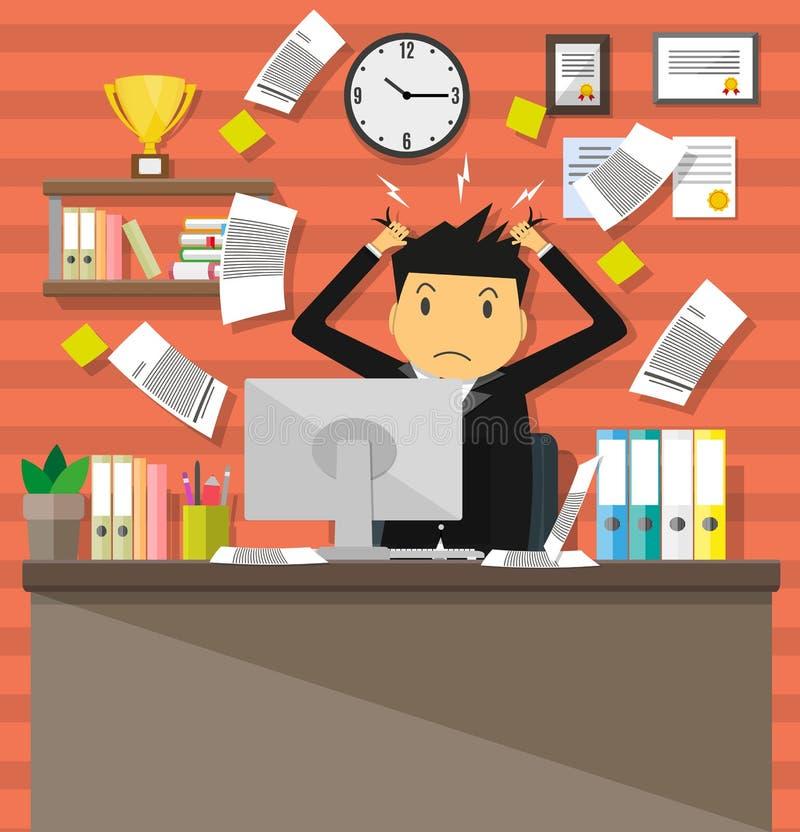 Hombre de negocios en la pila de papeles de la oficina stock de ilustración