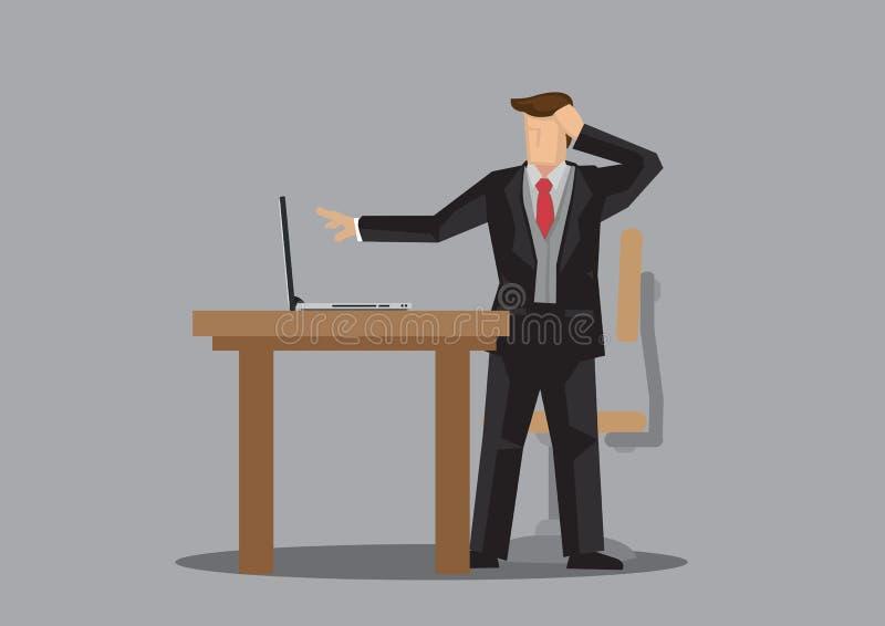 Hombre de negocios en la preocupación del traje sobre el error en su ordenador en su escritorio de oficina stock de ilustración
