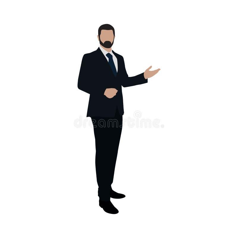 Hombre de negocios en la presentación Diseño plano ilustración del vector