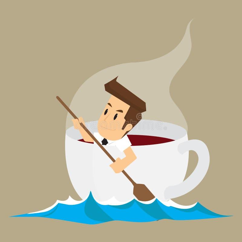 Hombre de negocios en la taza de café, café adictivo stock de ilustración