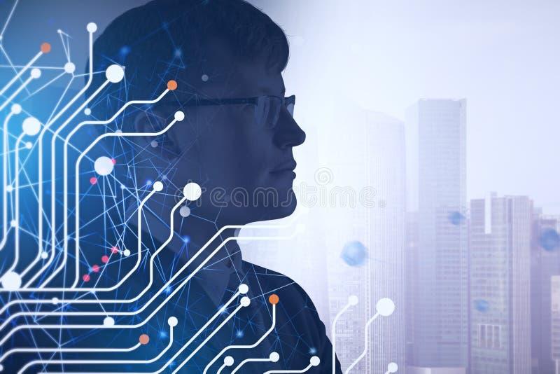 Hombre de negocios en los vidrios, circuitos libre illustration