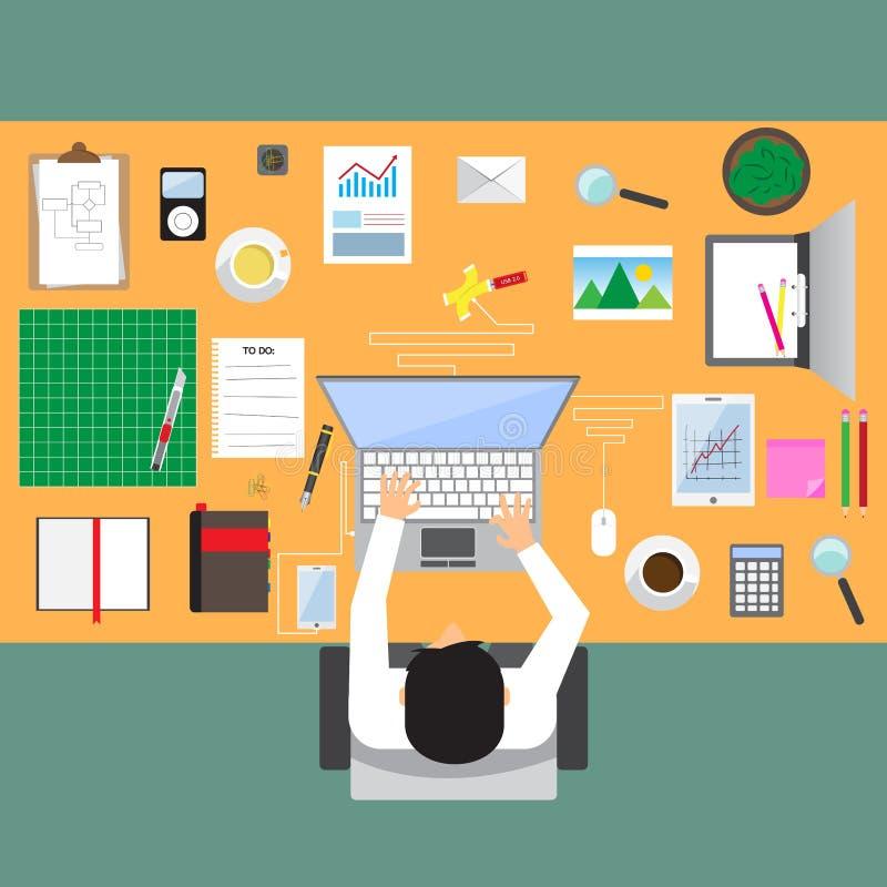 Hombre de negocios en lugar de trabajo con la opinión de sobremesa de la oficina stock de ilustración