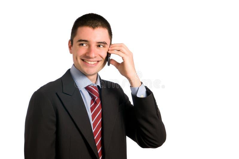 Hombre de negocios en móvil imagen de archivo libre de regalías