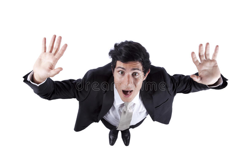 Hombre de negocios en pánico foto de archivo