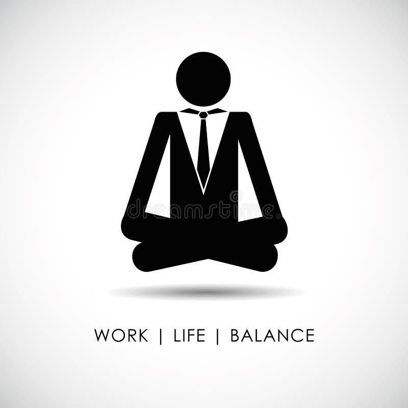 Hombre de negocios en pictograma de la balanza de la vida del trabajo de la actitud de la yoga libre illustration
