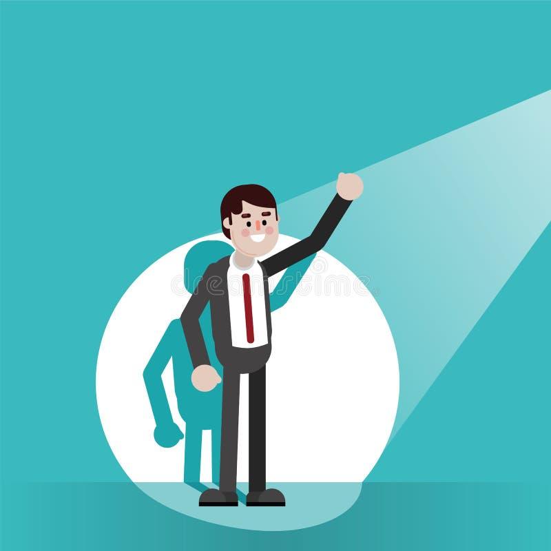 Hombre de negocios en proyector stock de ilustración