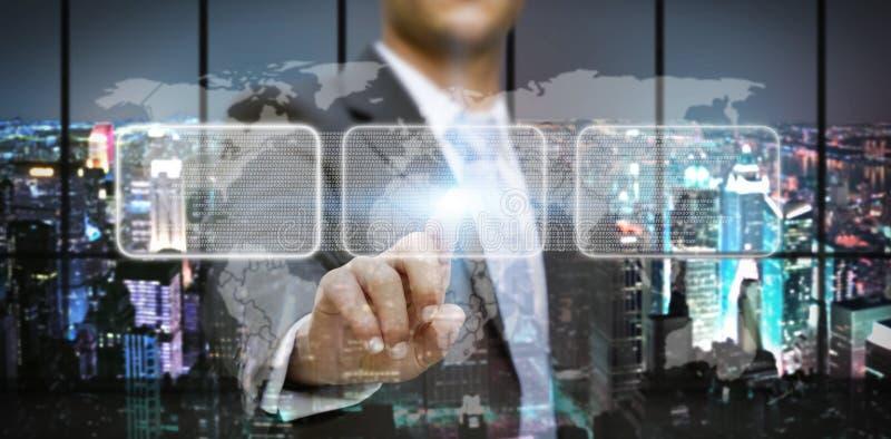 Hombre de negocios en su oficina usando interfaz táctil libre illustration