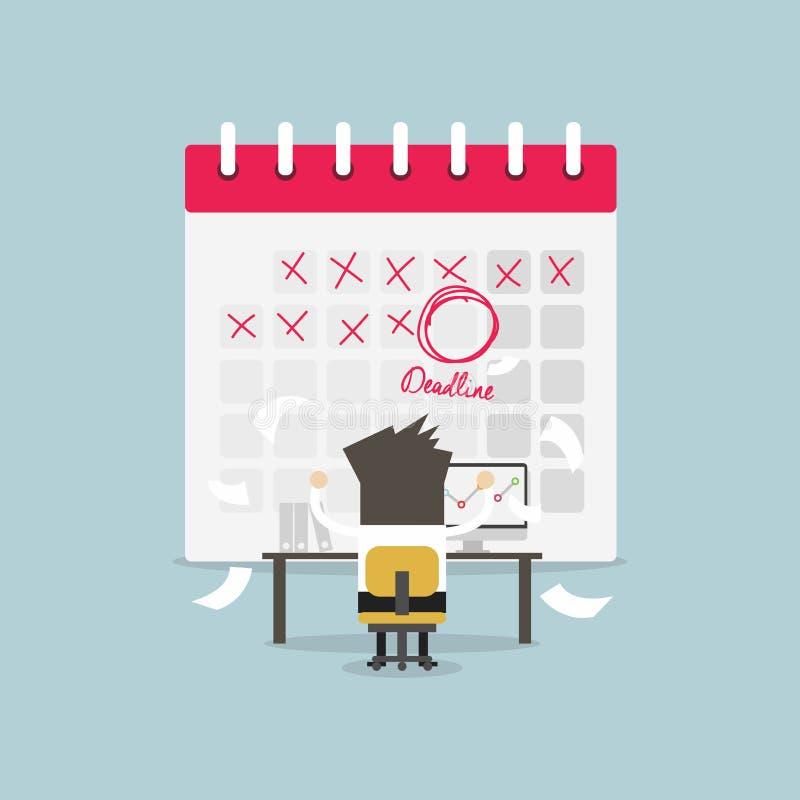 Hombre de negocios en trabajo duro con plazo de la marca del calendario Mucho trabajo Tensión en el trabajo ilustración del vector