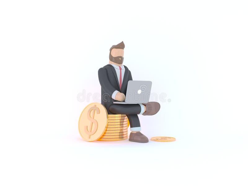 Hombre de negocios en traje Concepto 3d de la innovación y de la inspiración rendir el ejemplo foto de archivo libre de regalías