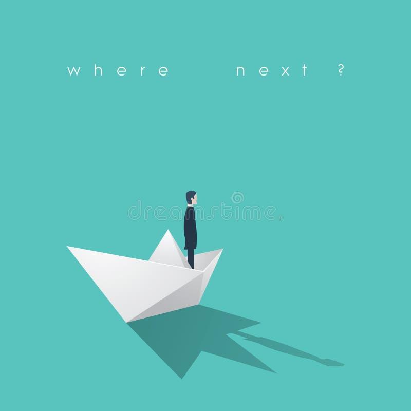 Hombre de negocios en un barco de papel Dirección y meta, concepto orientado objetivo del negocio libre illustration