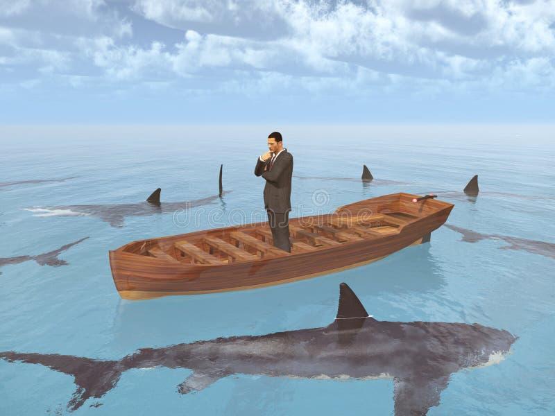 Hombre de negocios en un barco rodeado por los tiburones stock de ilustración