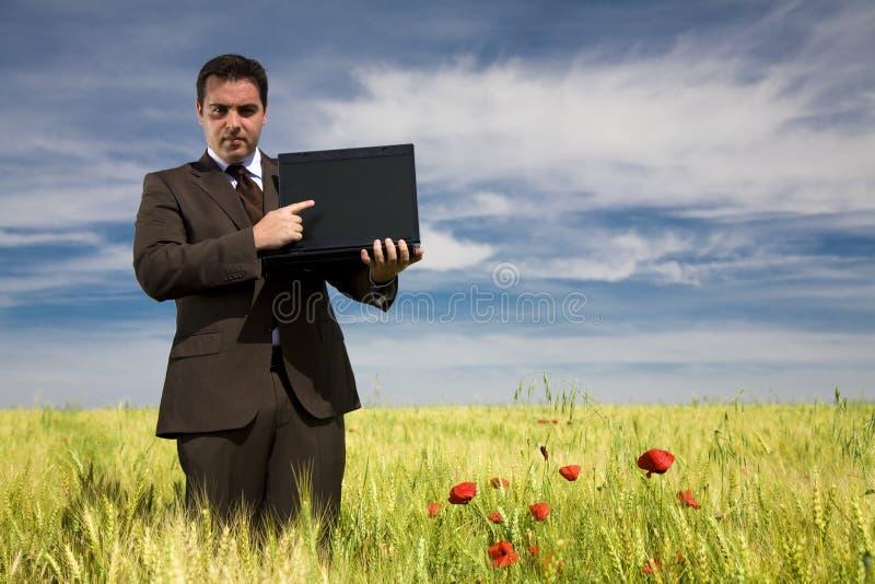 Hombre de negocios en un campo fotos de archivo