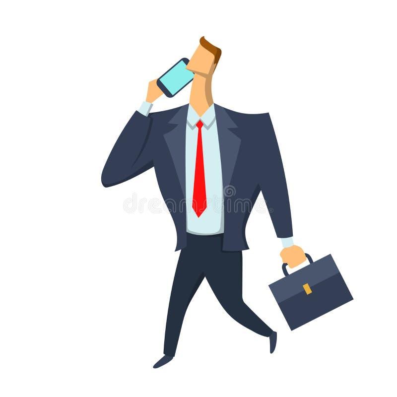 Hombre de negocios, hombre en un traje de negocios con una cartera que camina y que habla en el teléfono Ejemplo del vector aisla ilustración del vector