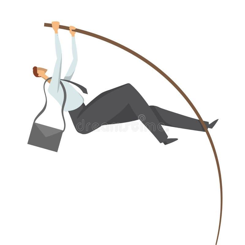 Hombre de negocios, hombre en un traje de negocios que hace la bóveda de polo Salte al éxito, ejemplo del concepto del vector, ai ilustración del vector
