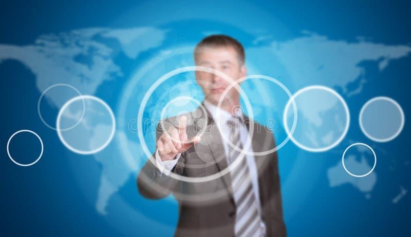 Hombre de negocios en un traje que señala su finger en ilustración del vector