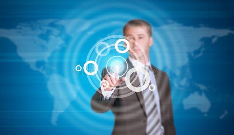 Hombre de negocios en un traje que señala su finger en stock de ilustración