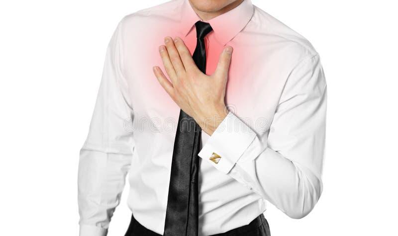Hombre de negocios en una camisa y un lazo blancos que celebran su PA del pecho del pecho fotografía de archivo