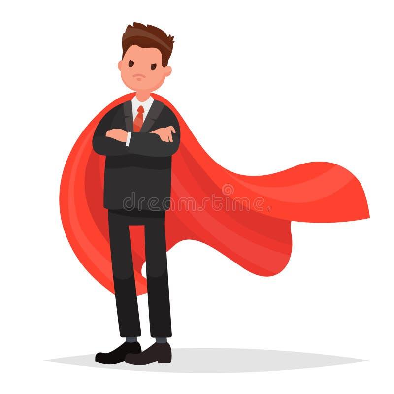 hombre de negocios en una capa roja super h roe del negocio vector illust stock de ilustraci n. Black Bedroom Furniture Sets. Home Design Ideas