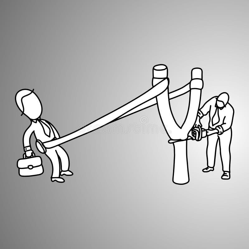 Hombre de negocios en una catapulta lista para lanzar para apuntar y su cuesta libre illustration