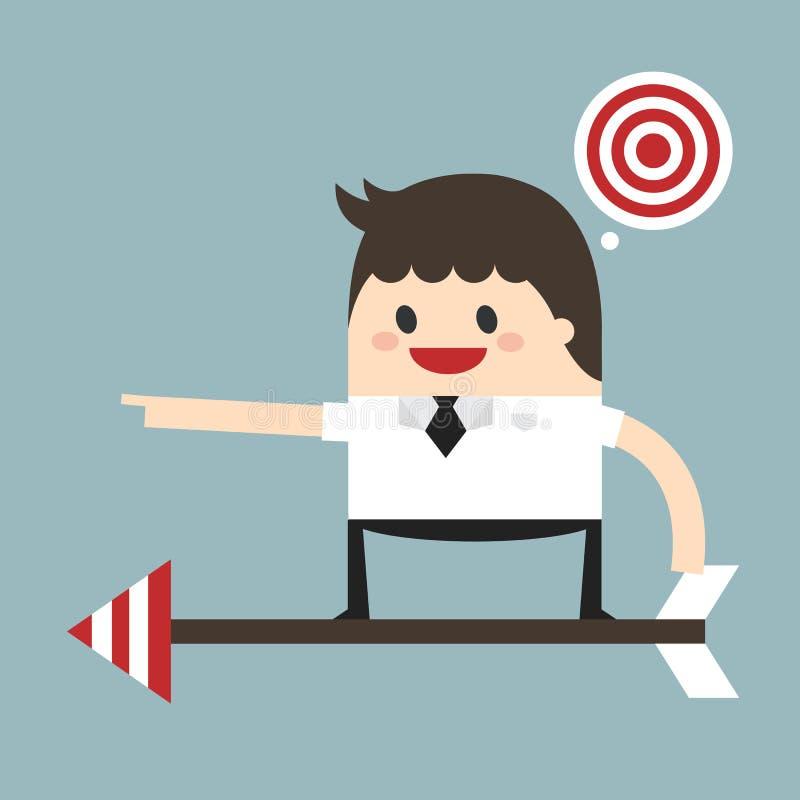 Hombre de negocios en una flecha lista para lanzar para apuntar, diseño plano, v libre illustration
