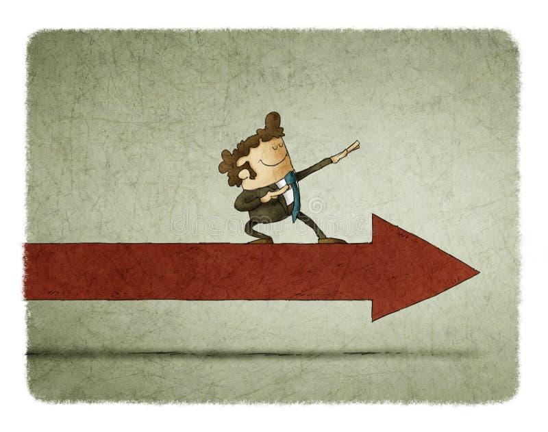 Hombre de negocios en una flecha que se mueve adelante stock de ilustración