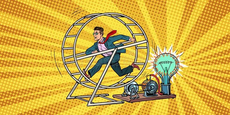 Hombre de negocios en una rueda de la ardilla libre illustration