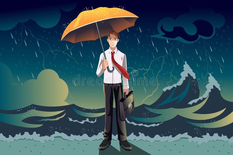 Hombre de negocios en una tormenta ilustración del vector