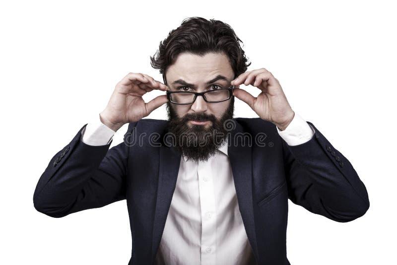 Hombre de negocios en vidrios fotografía de archivo libre de regalías