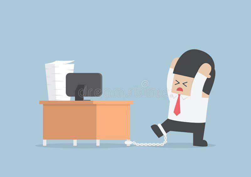 Hombre de negocios encadenado al escritorio ilustración del vector
