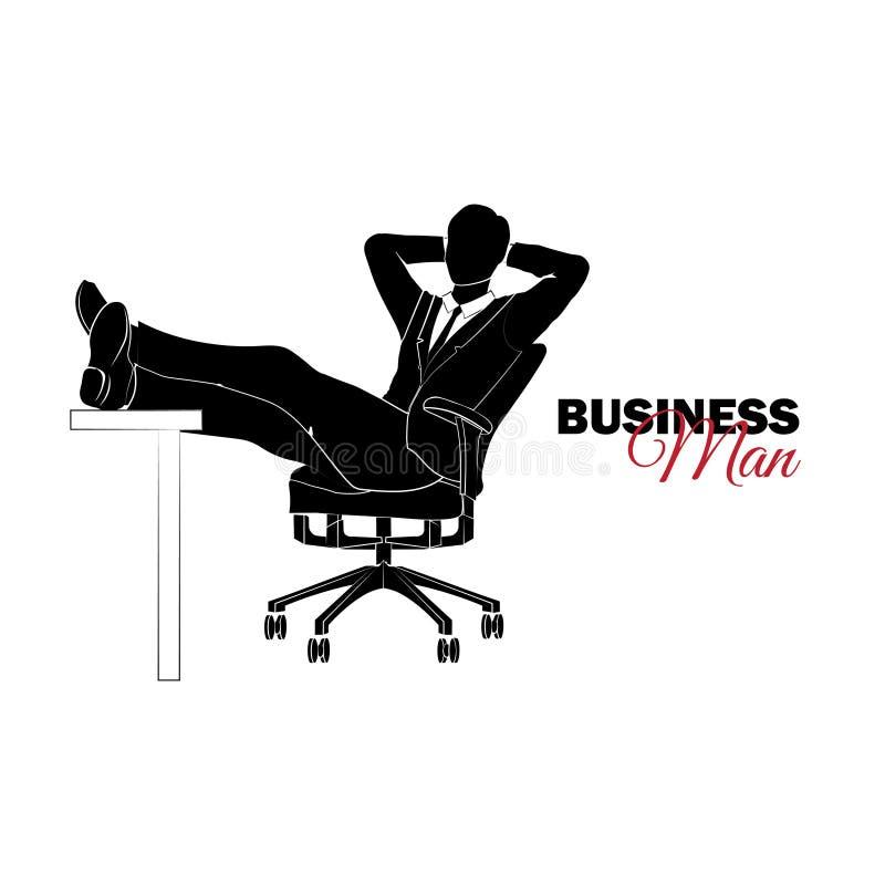 Hombre de negocios, encargado Un hombre en un juego de asunto Hombre de negocios que se sienta en una silla stock de ilustración