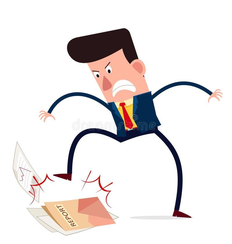 Hombre de negocios enojado ilustración del vector