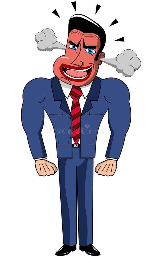Hombre de negocios enojado Cartoon Isolated ilustración del vector