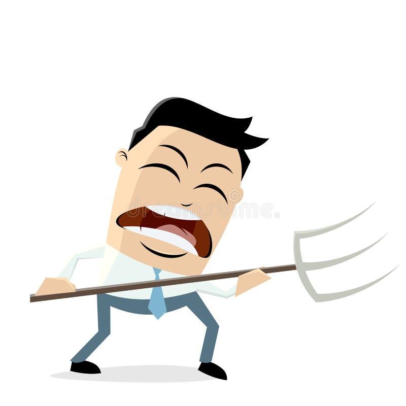 Hombre de negocios enojado con el bieldo stock de ilustración