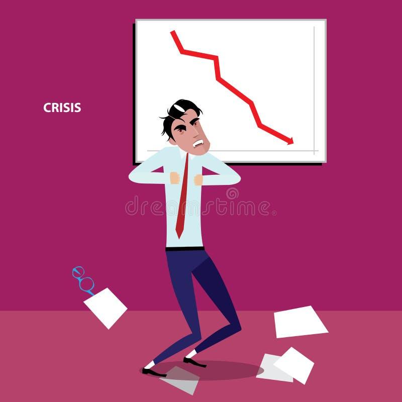 Hombre de negocios enojado con el gráfico negativo libre illustration