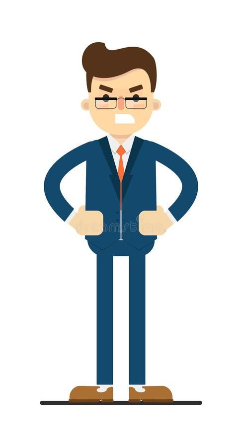 Hombre de negocios enojado con las manos en gesto de la cintura stock de ilustración