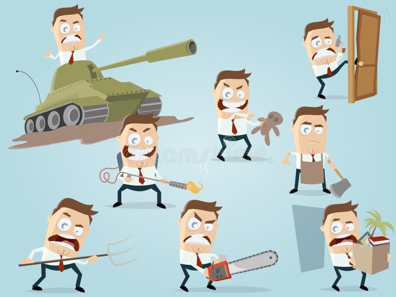 Hombre de negocios enojado en diversas situaciones libre illustration