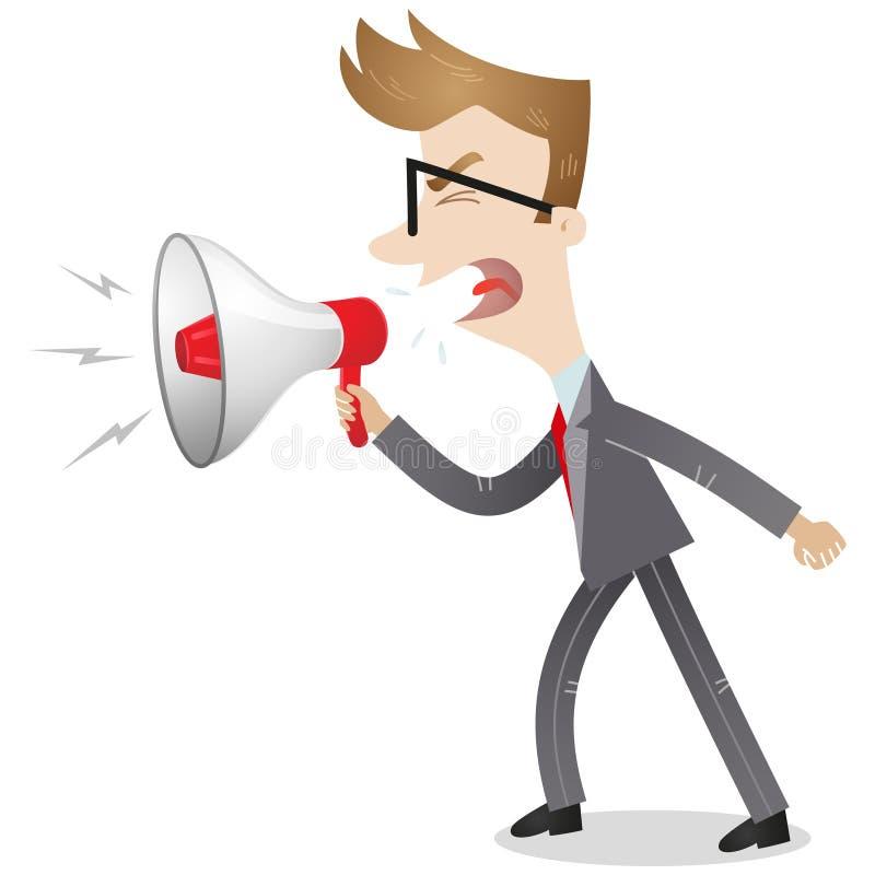 Hombre de negocios enojado que grita en el megáfono ilustración del vector