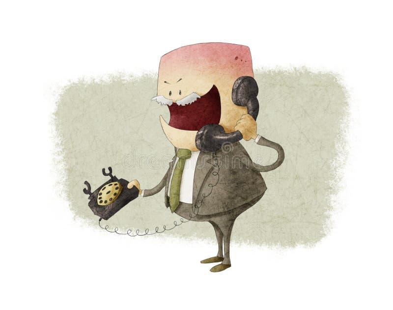 Hombre de negocios enojado que llama por el teléfono libre illustration