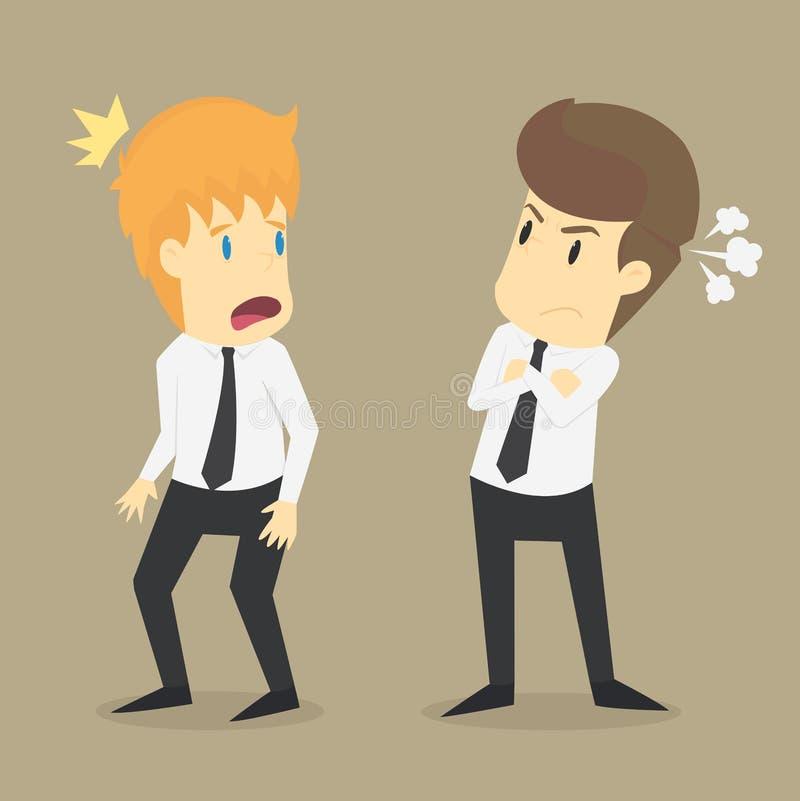 Hombre de negocios enojado que los colegas vinieron trabajar tarde libre illustration
