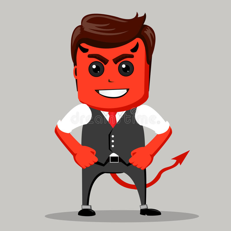 Hombre de negocios enojado Varón como diablo Rojo del hombre de negocios como demonio ilustración del vector