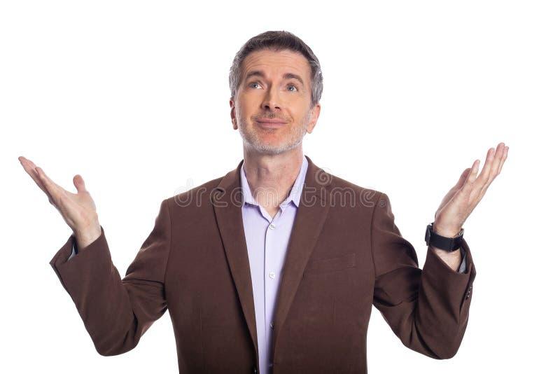 Hombre de negocios envejecido medio Presenting o publicidad algo imagen de archivo