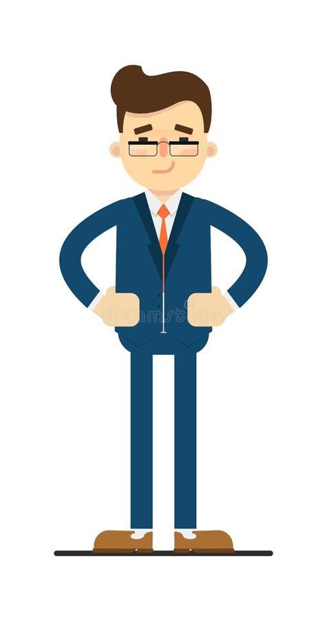 Hombre de negocios escéptico con las manos en gesto de la cintura ilustración del vector