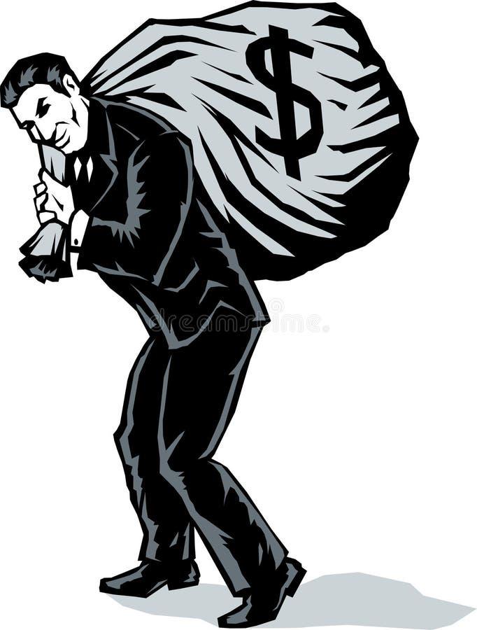 Hombre de negocios estilizado con el bolso stock de ilustración