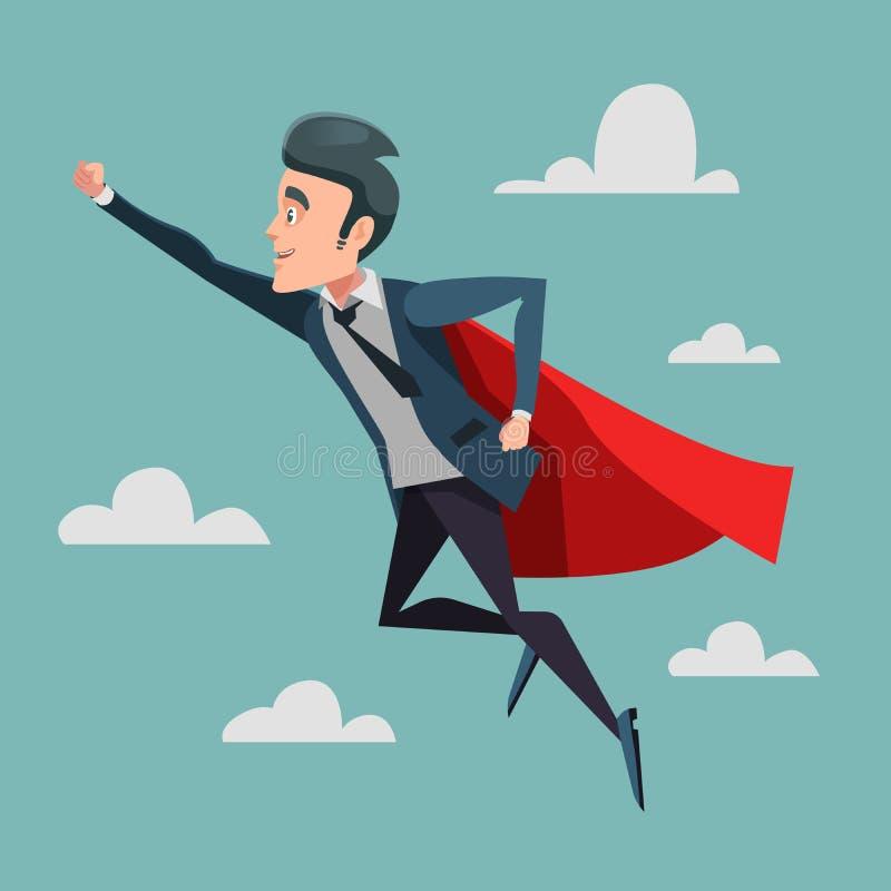 Hombre de negocios estupendo en el cabo rojo que vuela al éxito Super héroe del negocio libre illustration