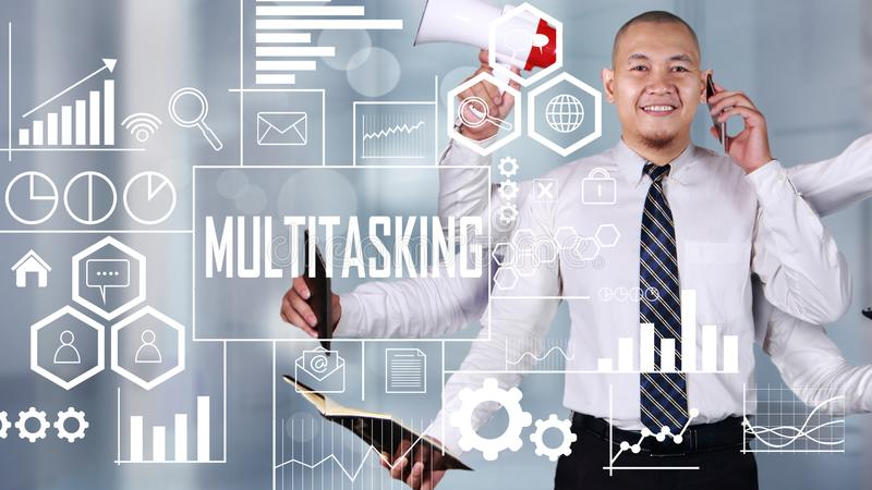 Hombre de negocios estupendo Multitasking fotos de archivo libres de regalías